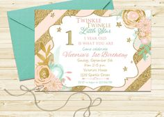 Items similar to Polka Dot Pink, Mint and Gold Glitter Birthday Party Invitation - Twinkle Twinkle Little Star First Birthday Invite on Etsy Pink And Gold Invitations, Baby Sprinkle Invitations, Printable Invitations, Birthday Party Invitations, Baby Shower Invitations, Invitation Ideas, Invite, Invitation Design, Amelie