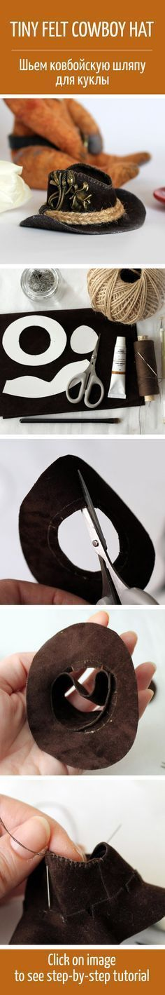 How to make a cowboy hat for a toy / Шьем из фетра ковбойскую шляпу для куклы. Why not measure your head and adjust accordingly, and make one for yourself. Doll Crafts, Diy Doll, Sewing Crafts, Barbie Clothes, Barbie Dolls, Sewing Clothes, Sewing Toys, Barbie Patterns, Doll Clothes Patterns