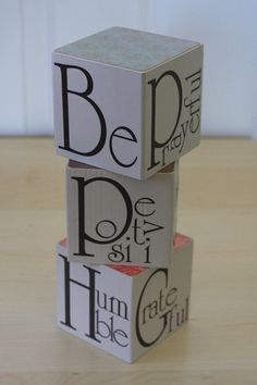 """Be"" blocks vinyl lettering"