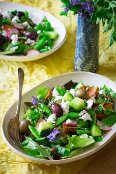 Snap Pea, Mint and Feta Fattoush Salad | Healthy Seasonal Recipes