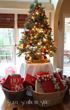 Love Savy Southern Style S Table Top Tree And Baskets Of Gifts