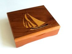 Vintage Marquetry Wood Box with Sail Boat Motif, Wood Trinket Box, Wood Jewelry Box, Wood Storage Box by GentlyKept on Etsy