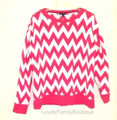 NEW Tommy Hilfiger Pink White Chevron Sweater LARGE Oversized Pullover Sweater L #TommyHilfiger #Sweater