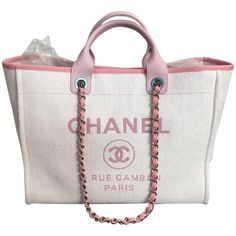 Pre-owned Chanel Deauville With Silver Chain Pink Tote Bag ($3,795) ❤ liked on Polyvore featuring bags, handbags, tote bags, pink, pink purse, summer totes, white tote, silver tote bag and chanel handbags