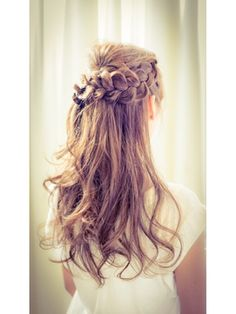 結婚式 髪型 ロングヘアアレンジ ナチュカワ☆編み込みハーフアップ☆結婚式パーティー