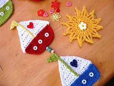 Crochet boat for kids' room