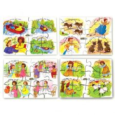 Contains 4 hand cut wooden jigsaw puzzles featuring popular nursery rhymes. Each jigsaw has 12 chunky pieces. Includes: Little Bo Peep Row Row Row Your Boat Three Blind Mice Polly Put the Kettle on Size: 19 x