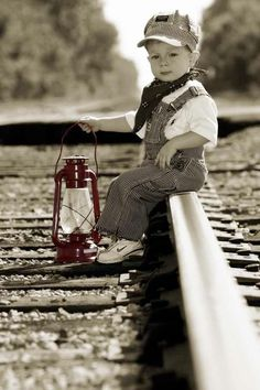 How cute ishe! and i love how the latern is the only thing with color Thomas The Train Birthday Party, Trains Birthday Party, Train Party, Pirate Party, Train Pictures, Boy Pictures, Boy Photos, 2nd Birthday Photos, 3rd Birthday