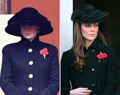 A day to remember  Diana never met her son's wife, but her life and Kate's have included many of the same events and even the same outfits. Here, Diana attends Armistice Day in 1992, in a typically dramatic hat, a black jacket with over-sized gold buttons and a Flanders Poppy pin. Newlywed Kate shows masculine tailoring and a very similar pin at the same event on November 13, 2011. Armistice Day, or Remembrance Day in the U.K. is a tribute to veterans. Today, we remember Diana, and extend our sy