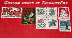 Reserved Custom Order for indulgingwhims .. Custom order of vintage Christmas postage stamps with a floral theme for mailing Holiday cards and letters. Sold on Etsy by TreasureFox