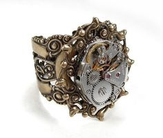 Steampunk Jewelry Ring Vintage Jewel Watch Movement Adjustable Filigree UNIQUE Wedding Anniversary Mothers - Steampunk Jewelry by edmdesigns