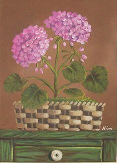 Geranium Original Floral Still Life Art Print by Kim's Cottage Art*
