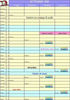 Calendario per tutta la famiglia. Basta divertirsi un po' con Excel o con OpenOffice Calc, e si può realizzare un calendario personalizzato per tutta la famiglia. Da appendere al frigo, o da rilegare con i fogli di tutti gli altri mesi, per fare un'agenda annuale.