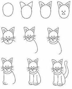 Draw Cats cartoon critters - learn to draw lessons - using shapes - Drawing Lessons, Art Lessons, Drawing Techniques, Drawing Tips, Doodle Drawings, Animal Drawings, Easy Drawings, Doodle Art, Cat Drawing