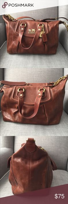 Coach leather handbag Beautiful chestnut colored Coach handbag with detachable shoulder strap. Dustbag included! Has some scratches/marks, see pictures. Also some ink spots on the interior. This is such a pretty bag!! Coach Bags Shoulder Bags