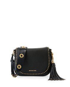 Brooklyn Medium Leather Saddle Bag, Black