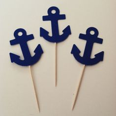 These toppers come 15 per pack. The anchors measure 2x1 1/2. They are pictured with matching straws, also found in my shop. Custom orders