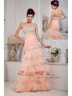 Informal Baby Pink Column Prom Dress Sweetheart Organza Beading Floor-length- $158.46  http://www.fashionos.com   | custom made plus size prom dress | elegant plus size prom evening dress | cheap prom evening dress in 2013 |