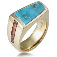 Sonoran Men's Ring - This masculine ring is geometric and asymmetrical in design. It is inlaid with turquoise and princess-cut garnets--gemstones found in our Sonoran Desert.
