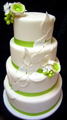 Modern Green Leaf Design Deco Wedding Cake