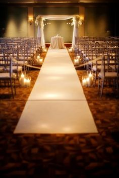 Classic White Aisle Runner + Candles creates a beautiful and romantic ceremony space