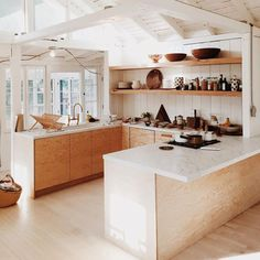 Plywood kitchen benchtops: exposed wood and white counters and shiplap with Kitchen Interior, New Kitchen, Kitchen Dining, Kitchen Decor, Earthy Kitchen, Natural Kitchen, Kitchen Nook, Kitchen Colors, Natural Wood