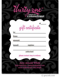 GIFT CERTIFICATE - Thirty-One Gifts - for Consultants - (DIGITAL file)