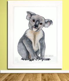 Koala Bear Animal Art Bear Australia Nursery Decor by YouMeThree, $24.00