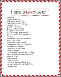 crazy christmas carols printable