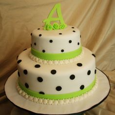 Lime Green and Black Polka Dots - Lime green and black polka dots on fondant; a graduation cake for a young lady named Amber (hence the A on top).