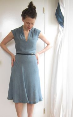 Soft bodice, skirt cut on bias.