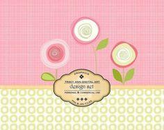 1/2 PRICE Bold Bloom 3 Digital Design Set Paper and Clip Art for invites, card making, digital scrapbooking - Bold Bloom 3