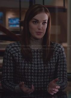 Jemma's brown houndstooth sweater on Agents of SHIELD Elizabeth Henstridge, Black Widow Winter Soldier, Librarian Chic, Phil Coulson, Clint Barton, Agents Of Shield, Funnel Neck, Houndstooth, Fashion Outfits
