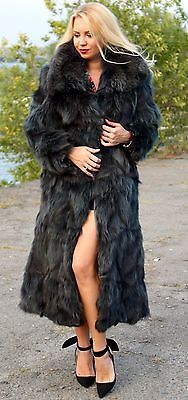 Véritable manteau de fourrure renard noir fit uk 10-12-14-16 polar fox saga