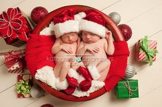 Newborn Twins, Twins Holiday set up, Cleveland Baby Photography, Cleveland Newborn Photography, Cleveland Ohio Newborn photographer, Katheri...
