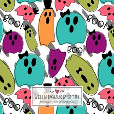 I love how colorful this ghost pattern is by Pattern Camper & Surface Pattern Kelly Parker Smith of Hello Paper Co.