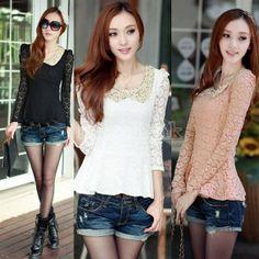 Korean Women's Doll collar Long Sleeve Lace Bottoming Shirt Top Blouse