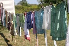 Hanging all the laundry out  to dry