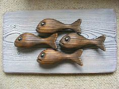 carved wooden fish | Details about LOVELY CARVED WOODEN FISH SCULPTURE - WALL…