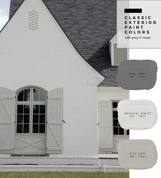 62 Ideas exterior house paint color combinations shutters dream homes Exterior Paint Color Combinations, House Paint Color Combination, Exterior Color Schemes, Exterior Paint Colors For House, Grey Exterior, Paint Colors For Home, Exterior Design, Tudor Exterior Paint, Exterior Shutter Colors