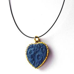 Textured Heart Necklace Blue    Love the texture and the simplicity of it all!