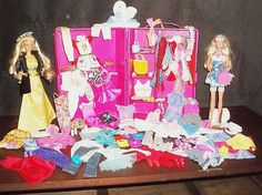 Lot#7 of 1-2000 Barbie Clothes & Accessories Case 2-Barbie Dolls & 120 Extras #Mattel