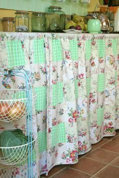 Conserve w/ Cabinet Curtains on Pinterest | Cottage ...