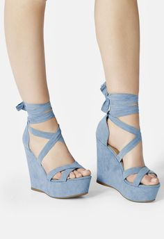 This sky-high platform wedge is seriously major. Punch up your summer style in a flash with this wraparound ankle tie closure. Blue Wedge Heels, Wedge Shoes, Shoe Wedges, Wedges Outfit, Blue High Heels, Fashion Heels, Fashion Boots, High Heel Boots, Shoe Boots