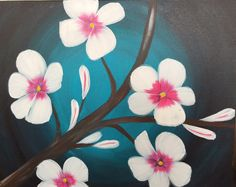 Moonlight blossom. A beautiful cherry blossom painting on a 16x20 canvas. Let's Paint Tonight Inlandempire Events chino hills.