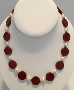 Carnelian and freshwater pearl necklace by GrowlyHavenJewelry on Etsy
