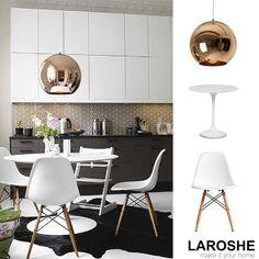Cooper Lampe, Eames Stuhl und der Saarinen Kaffeetisch. Schaut vorbei auf www.laroshe.de #furnitureoftheday