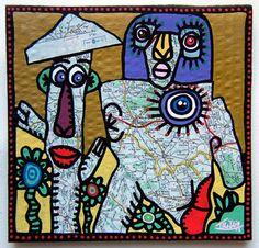 Les vieilles cartes routières ont souvent servi de supports à des oeuvres d'artistes.Quelques exemples avec des oeuvres de Didier Triglia... Art For Kids, Crafts For Kids, Art Carte, 4th Grade Art, Cool Face, Art Brut, Art Plastique, Les Oeuvres, Art Projects