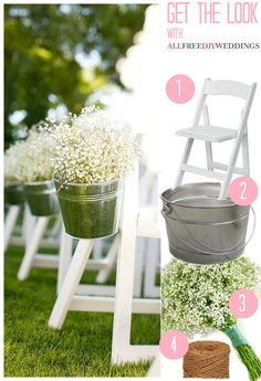 Baby's Breath Pail Wedding Aisle Decor- maybe add a bow to the bucket, could also use mason jars too