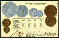 Japan Coinage & Countries flag postcard